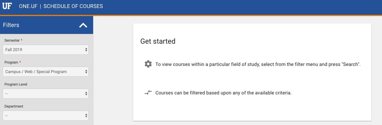 Screenshot of UF Schedule of Courses