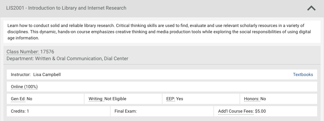 Screenshot of LIS 2001 - Introduction to Library and Internet Research with link to textbook listing